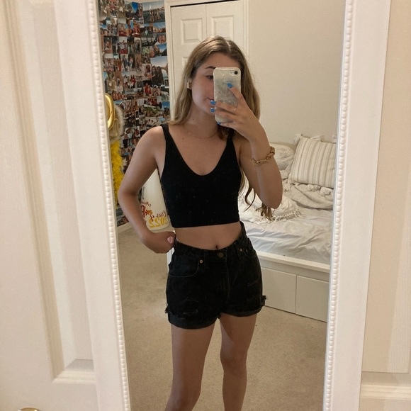 Black Ripped High Waisted Levi's Jean Shorts